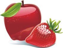 Яблоко, клубника бесплатная иллюстрация