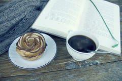 Яблоко подняло Примите пролом Время прочитать книгу и ослабить Стоковая Фотография