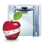 Яблоко при измеряя изолированный масштаб ленты и веса Иллюстрация вектора