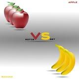 Яблоко против комплекта вектора банана Стоковое Изображение