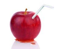 Яблоко с ручкой коктеиля Стоковое фото RF
