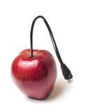 Яблоко с стержнем кабеля сети Стоковые Изображения