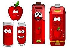 Яблоко шаржа с яблочным соком в контейнерах бесплатная иллюстрация