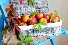 яблок корзины ткани ножа красный цвет затем до 2 Стоковые Изображения RF