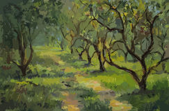 Яблони, картина маслом Стоковое фото RF