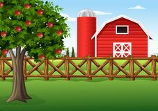 Яблоня на ферме иллюстрация штока