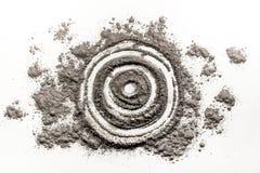 Яблочко, цель, круг, чертеж формы круга в пыли, золе, грязи Стоковая Фотография RF