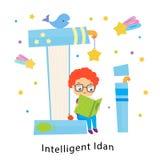 Ягнит алфавит Английские письма с характерами детей шаржа Я для умного Idan Книга чтения мальчика бесплатная иллюстрация