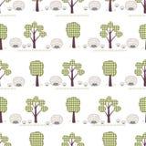 Ягнит безшовная картина, applique, ежи, деревья, трава Стоковые Фото