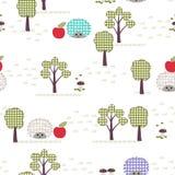 Ягнит безшовная картина, applique, ежи, деревья, яблоки, трава Стоковое Изображение