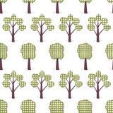 Ягнит безшовная картина, applique, деревья, трава Стоковое фото RF