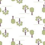 Ягнит безшовная картина, applique, деревья Стоковое Изображение RF