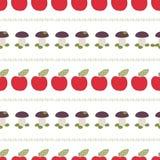 Ягнит безшовная картина, applique, заплатка, яблоки, грибы Стоковые Фото