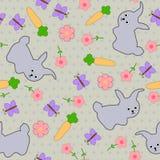 Ягнит безшовная предпосылка с leverets, кроликами, бабочками и цветками Стоковые Фотографии RF