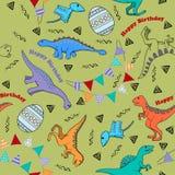 Ягнит безшовная предпосылка для дня рождения с динозаврами Стоковое Фото