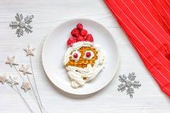 Ягнит взгляд сверху waffles завтрака рождества меню Стоковое Фото