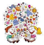 Ягнит книги чтения Стоковое Изображение