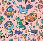 Ягнит предпосылка с йети, единорогом, драконом, русалкой, ламой и ленью в стиле шаржа также вектор иллюстрации притяжки corel иллюстрация вектора