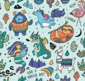 Ягнит предпосылка с йети, единорогом, драконом, русалкой, ламой и ленью в стиле шаржа также вектор иллюстрации притяжки corel иллюстрация штока