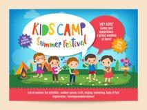 Ягнит рогулька плаката образования летнего лагеря иллюстрация вектора