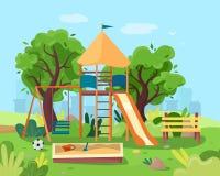 Ягнит спортивная площадка в парке города Качания, ящик с песком, скольжение, дерево и стенд иллюстрация штока
