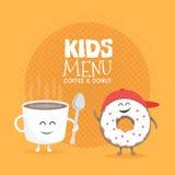 Ягнит характер картона меню ресторана Смешной милый кофе и донут кружки нарисованные с улыбкой, глазами и руками Стоковые Фотографии RF
