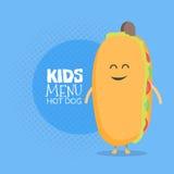 Ягнит характер картона меню ресторана Смешной милый хот-дог нарисованный с улыбкой, глазами и руками Стоковые Фото