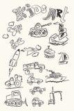 Ягнит чертеж руки ART первоначально Чертежи детей технологии, автомобилей, воздушных судн и кораблей doodle иллюстрация вектора