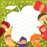 Ягнит шаблон меню Покрашенная предпосылка с иллюстрациями счастливых детей в костюмах плодоовощ иллюстрация вектора