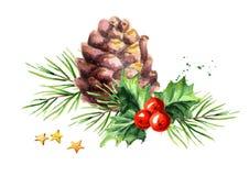 Ягода падуба символа рождества и Нового Года декоративная с составом конуса и ветви Иллюстрация акварели нарисованная рукой, изол иллюстрация вектора