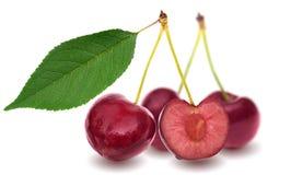 Ягоды вишни с листьями на белизне Стоковая Фотография