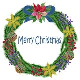 Ягоды гуаши акварели красные и зеленое рождество и Ri листьев бесплатная иллюстрация
