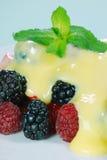 ягоды закрывают заварной крем смешанный вверх стоковые изображения rf