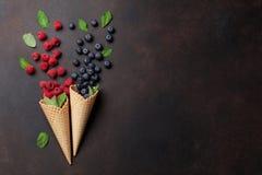 ягоды закрывают cream изображение льда вверх Стоковая Фотография