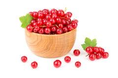 Ягоды красной смородины в деревянном шаре при лист изолированные на белой предпосылке Стоковое Изображение