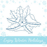 Ягода падуба рождества, листья, снег на белизне Стоковая Фотография RF