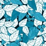 Ягоды безшовного пинка картины одичалые разветвляют backgroun листьев ретро Стоковая Фотография RF