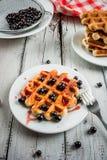 Ягоды лета бельгийских waffles i и ja смородины Стоковое фото RF