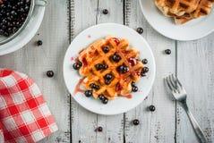 Ягоды лета бельгийских waffles i и ja смородины Стоковые Изображения RF