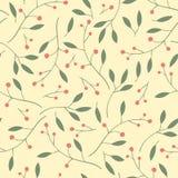 Ягоды, листья и ветви vector безшовная картина Стоковые Изображения RF