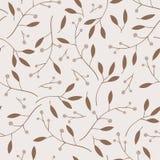 Ягоды, листья и ветви vector безшовная картина Стоковая Фотография