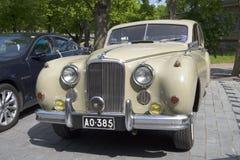 Ягуар Марк IX, крупный план вид спереди Встреча держателей ягуара автомобилей в Турку Финляндия Стоковое Фото