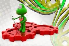 лягушка 3d на иллюстрации шестерни Стоковое Фото