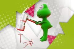 лягушка 3d с иллюстрацией молотка Стоковые Фотографии RF