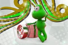 лягушка 3d с иллюстрацией оправы Стоковое фото RF