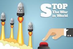 Ядерная война - падать атомных бомб руки нажимая кнопку старта бесплатная иллюстрация