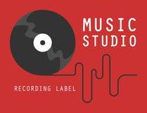 Ядровый логотип студии звукозаписи Эмблема компании музыки иллюстрация вектора