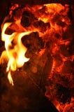 Языки пламени на горящих углях Стоковые Изображения RF