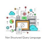 Язык запроса базы данных NoSQL не реляционный составленный Стоковые Фотографии RF