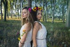 Языческие девушки в лесе деревом Стоковые Изображения RF